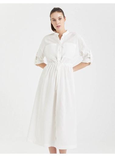 BGN Ekru - Uzun Gömlek Elbise Ekru